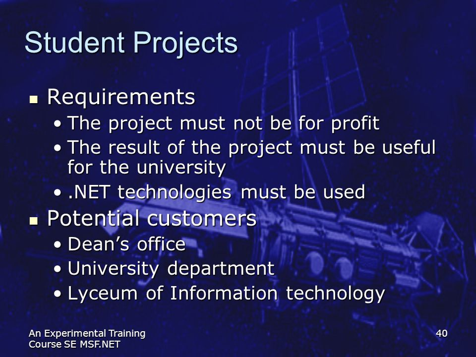 Student Projects Requirements Potential customers