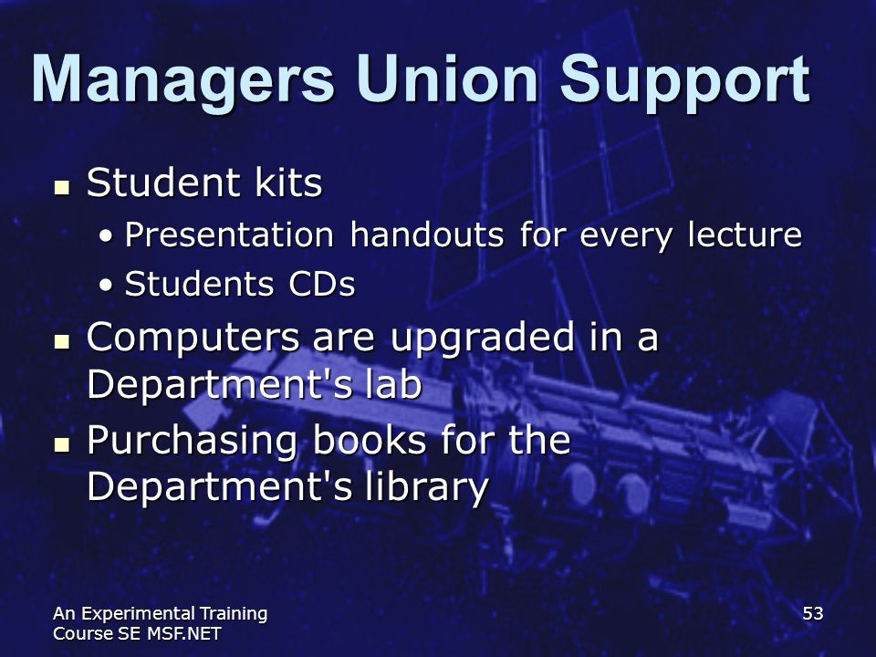 Managers Union Support