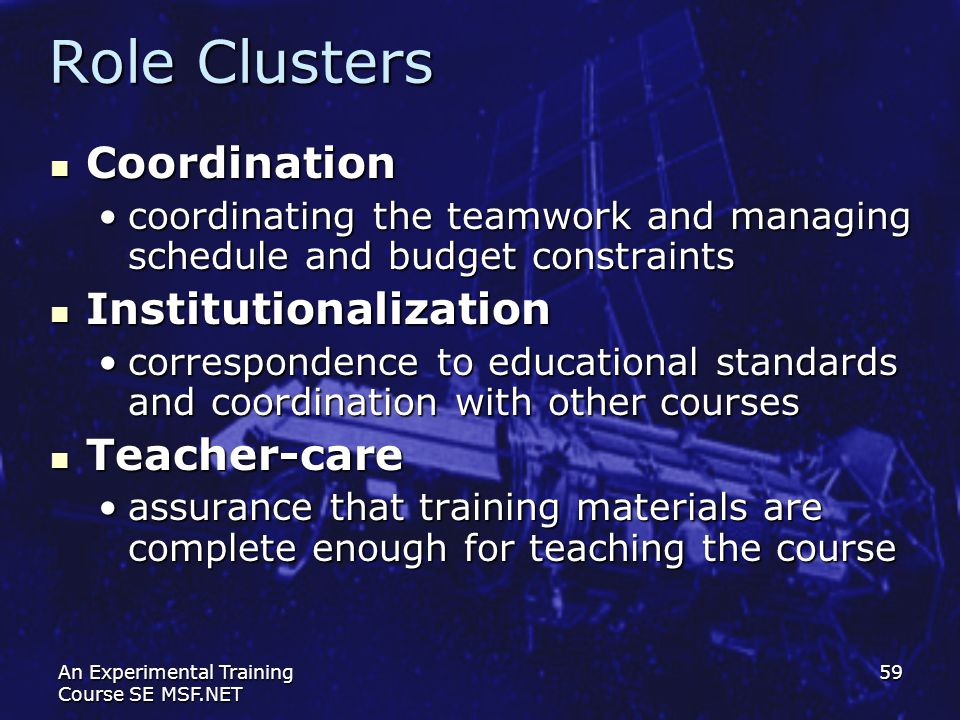 Role Clusters Coordination Institutionalization Teacher-care