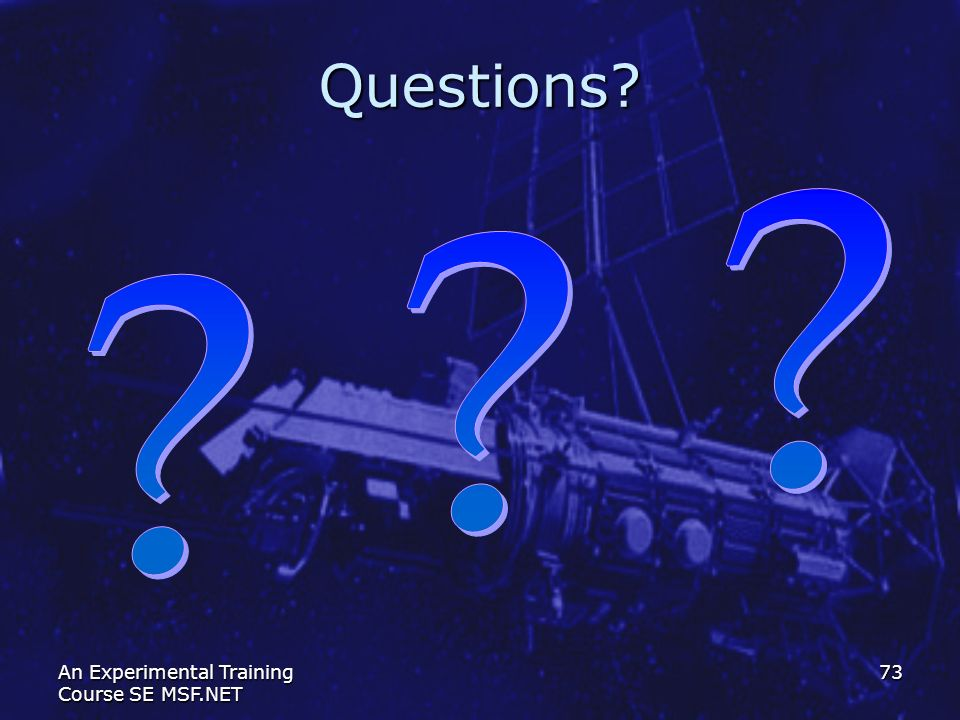 Questions An Experimental Training Course SE MSF.NET