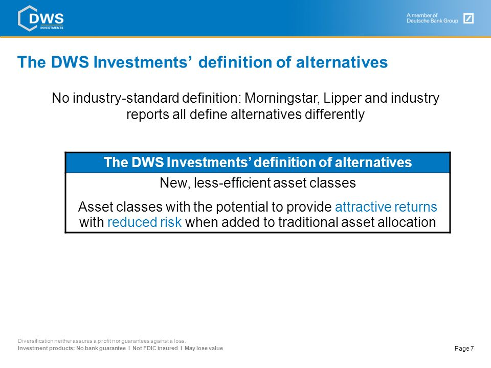 The DWS Investments' definition of alternatives