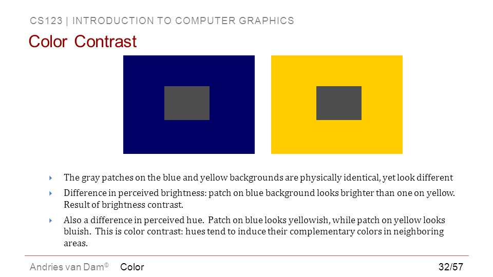 Color Contrast The gray patches on the blue and yellow backgrounds are physically identical, yet look different.