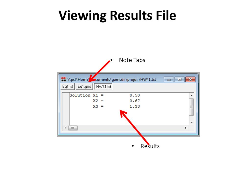 Viewing Results File Note Tabs Results