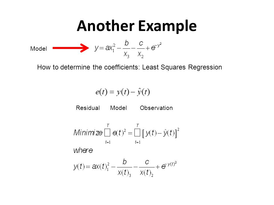 Another Example Model. How to determine the coefficients: Least Squares Regression. Residual. Model.