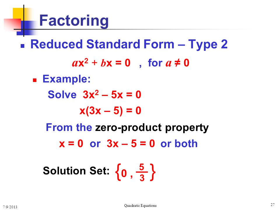 Solving Quadratic Equations Solving Quadratic Equations Ppt Download