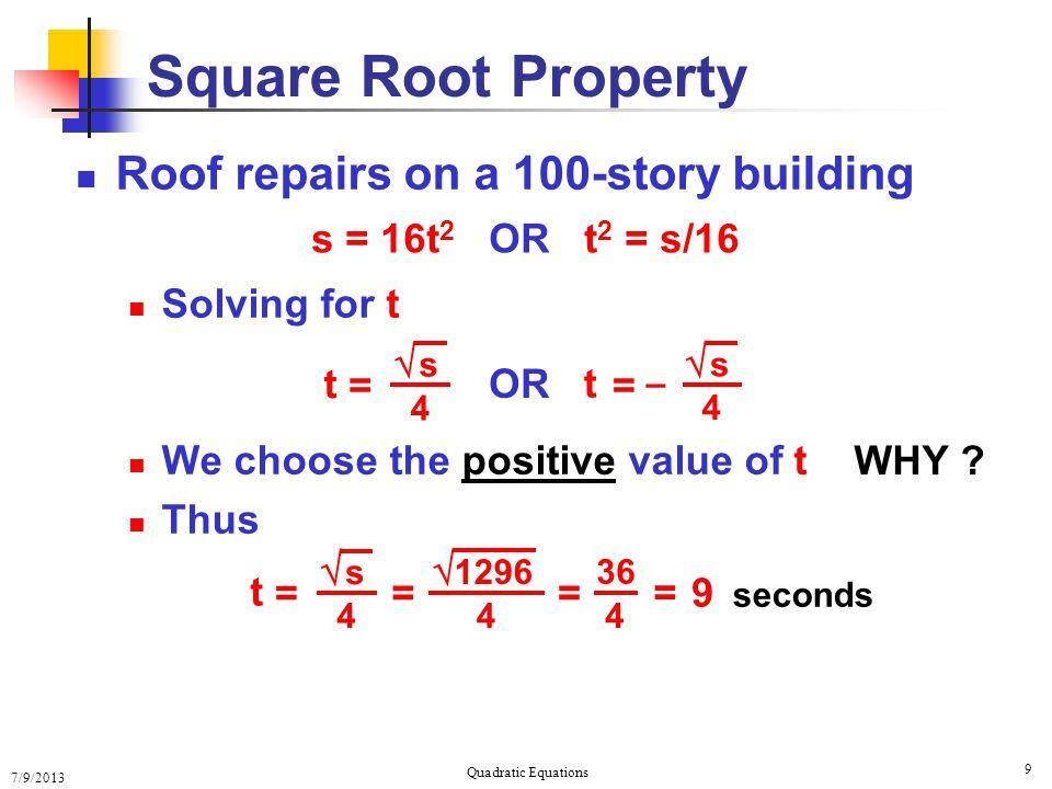 Solving Quadratic Equations Solving Quadratic Equations