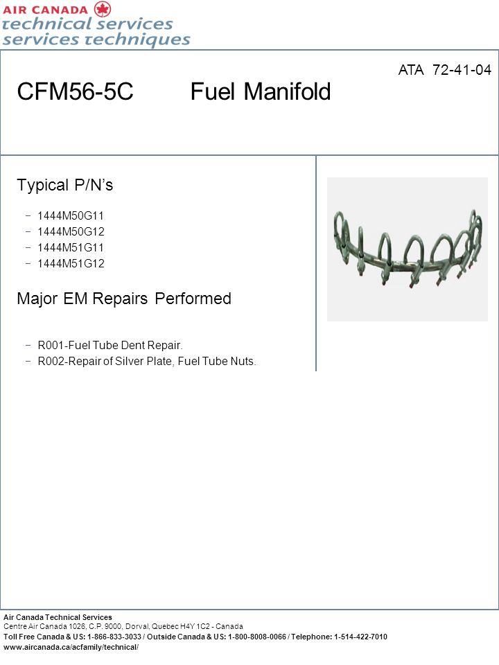 CFM56-5C Fuel Manifold ATA 72-41-04 Typical P/N's