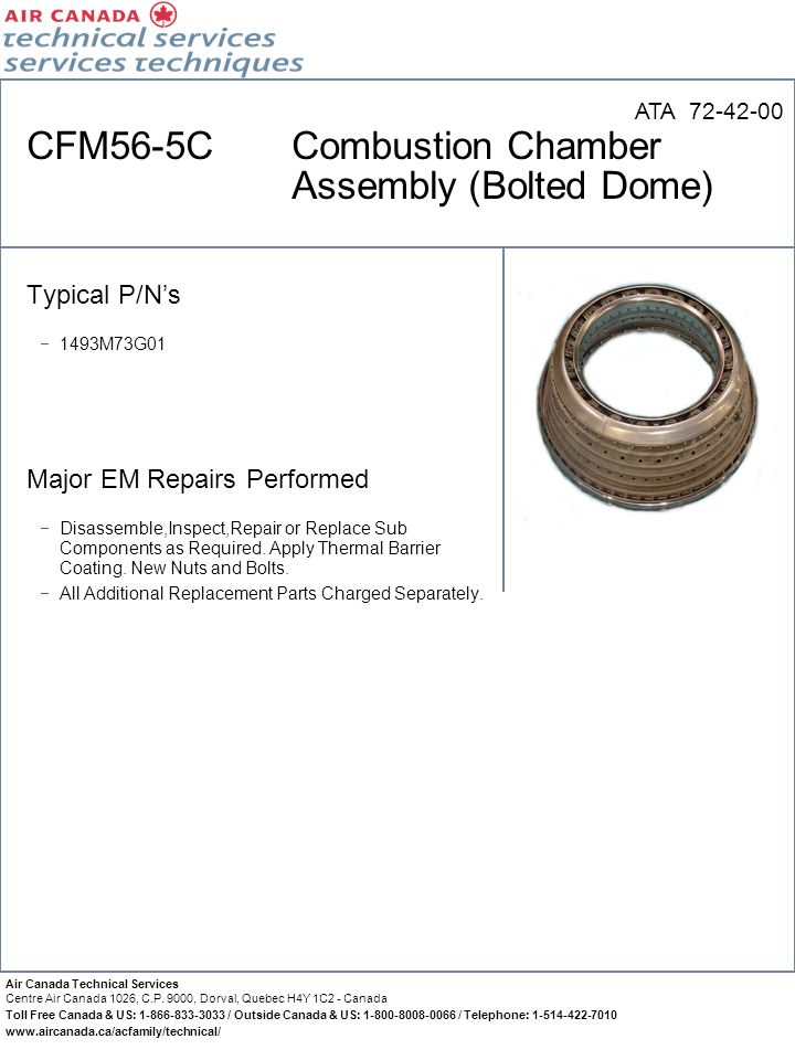 CFM56-5C Combustion Chamber Assembly (Bolted Dome)