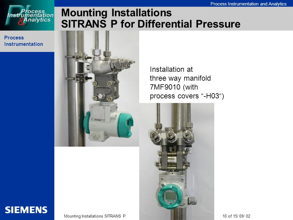 Mounting Installations SITRANS P for Differential Pressure