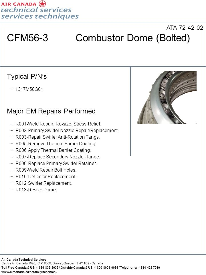 CFM56-3 Combustor Dome (Bolted)