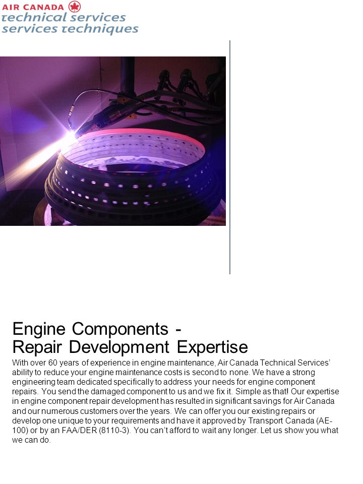 Engine Components - Repair Development Expertise