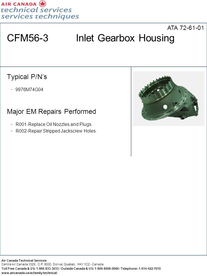 CFM56-3 Inlet Gearbox Housing