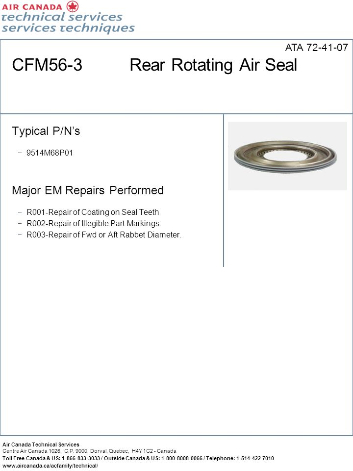 CFM56-3 Rear Rotating Air Seal