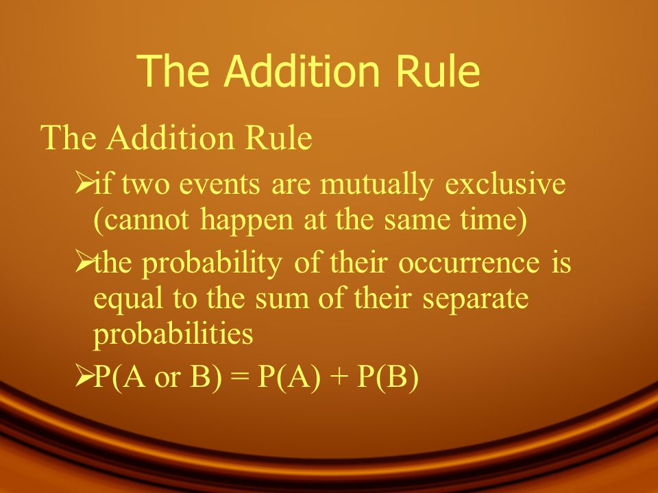 The Addition Rule The Addition Rule