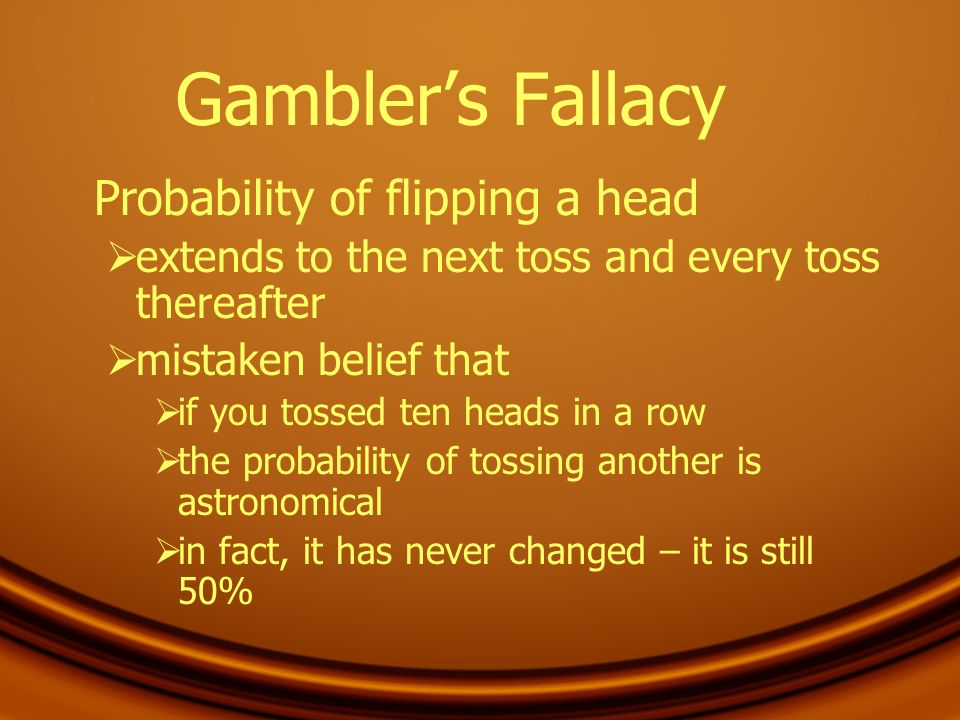 Gambler's Fallacy Probability of flipping a head