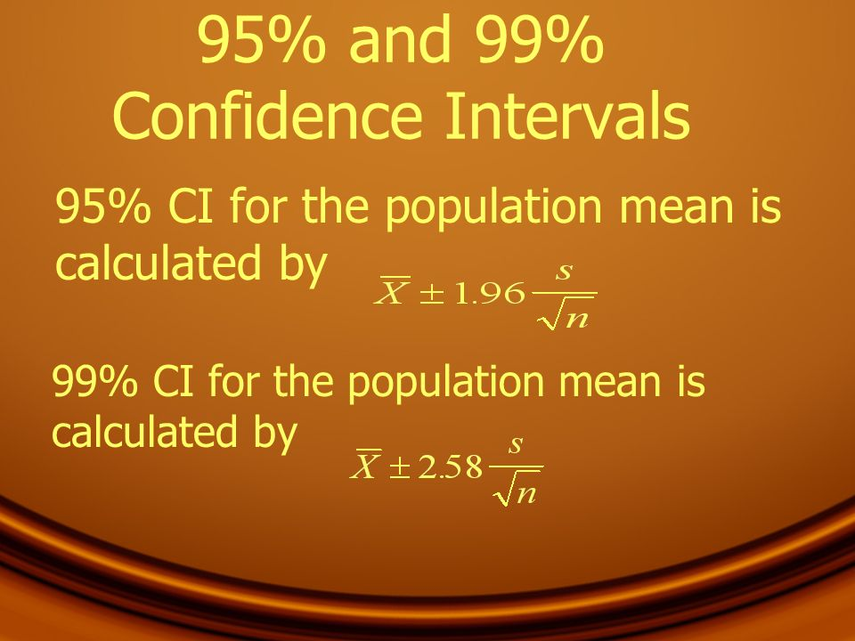 95% and 99% Confidence Intervals