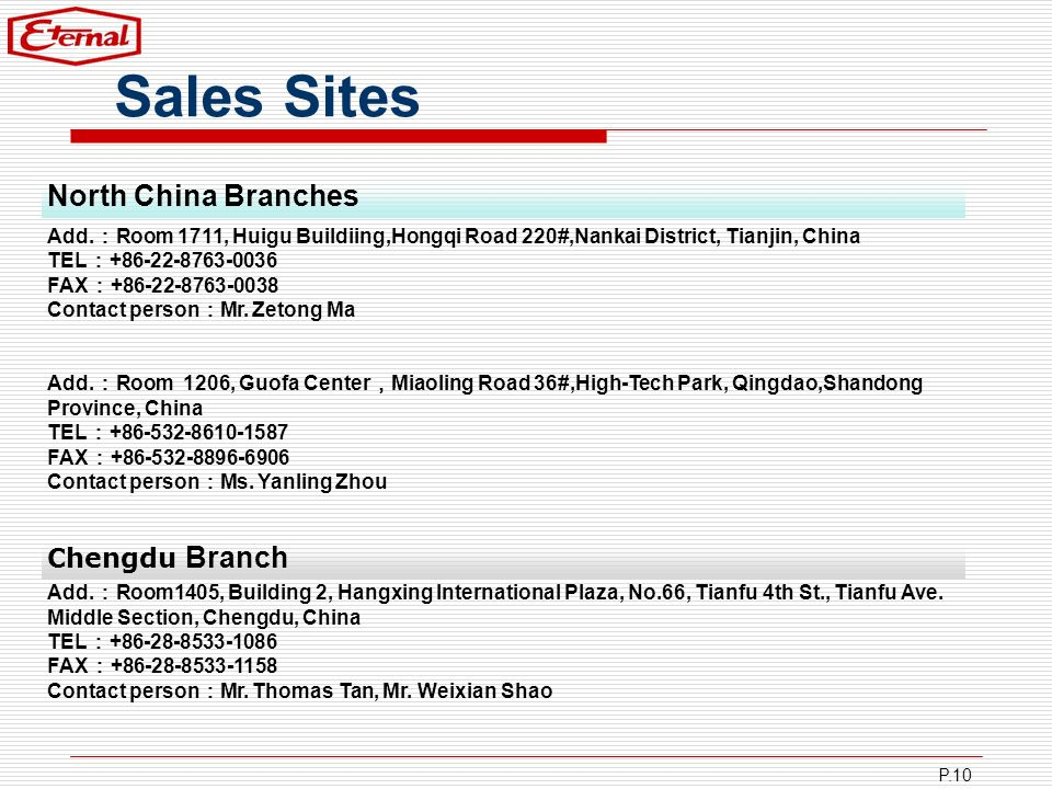 Sales Sites North China Branches Chengdu Branch