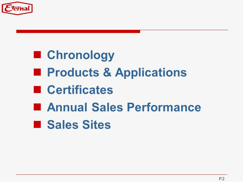 Chronology Products & Applications Certificates Annual Sales Performance Sales Sites