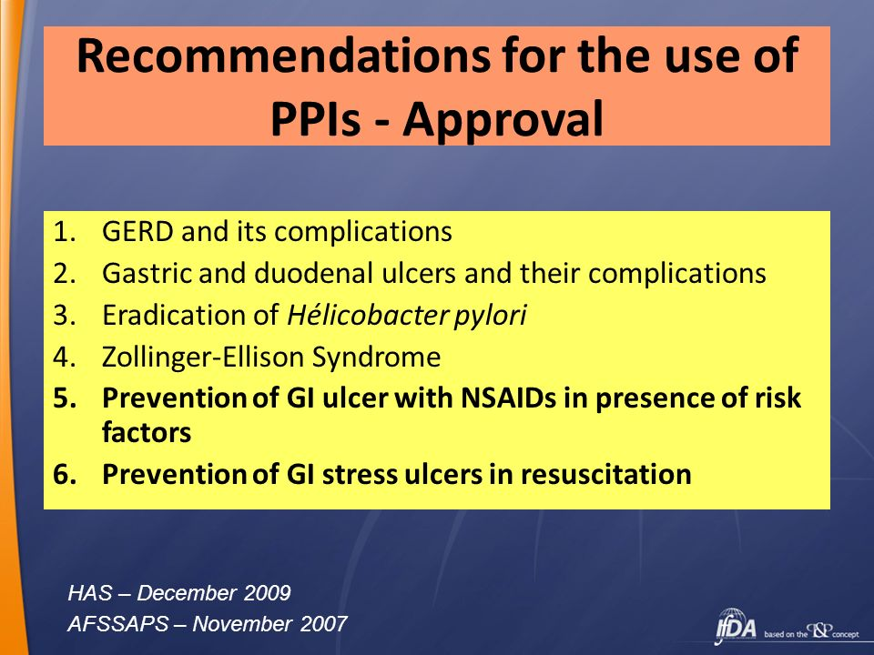 Recommendations for the use of PPIs - Approval