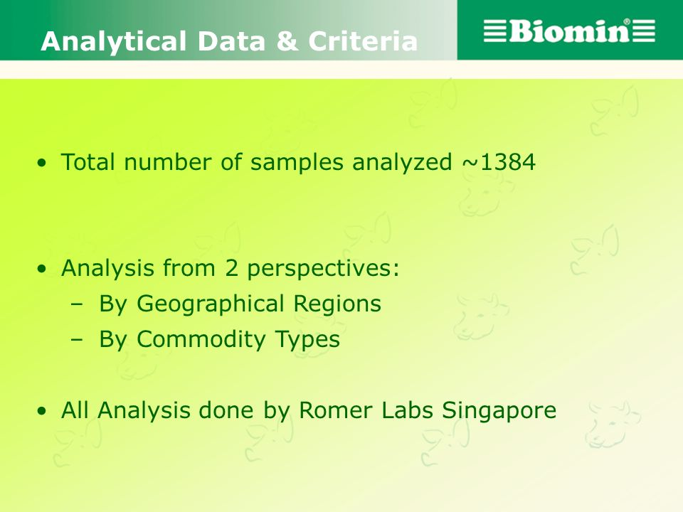 Analytical Data & Criteria
