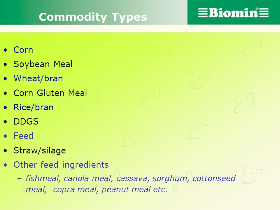 Commodity Types Corn Soybean Meal Wheat/bran Corn Gluten Meal