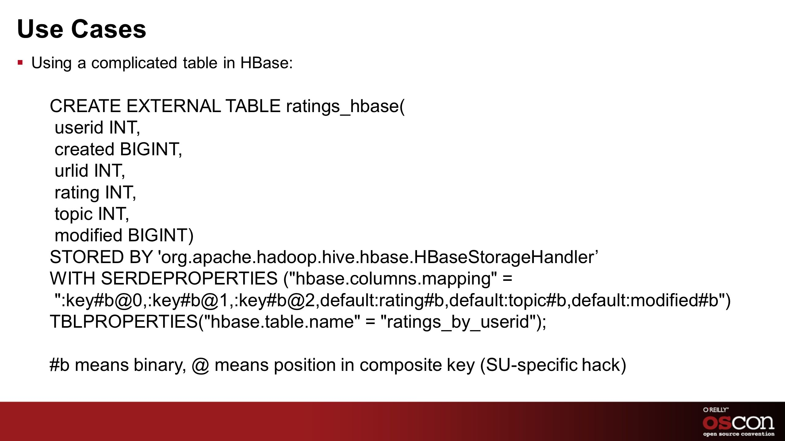 Use Cases CREATE EXTERNAL TABLE ratings_hbase( userid INT,