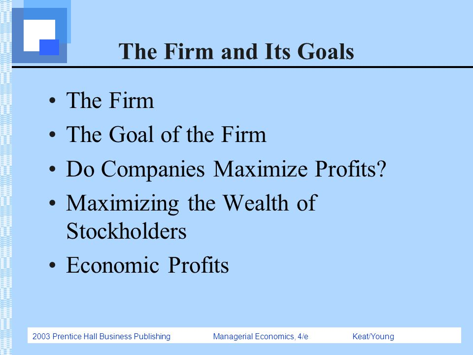 The Firm and Its Goals The Firm. The Goal of the Firm. Do Companies Maximize Profits Maximizing the Wealth of Stockholders.