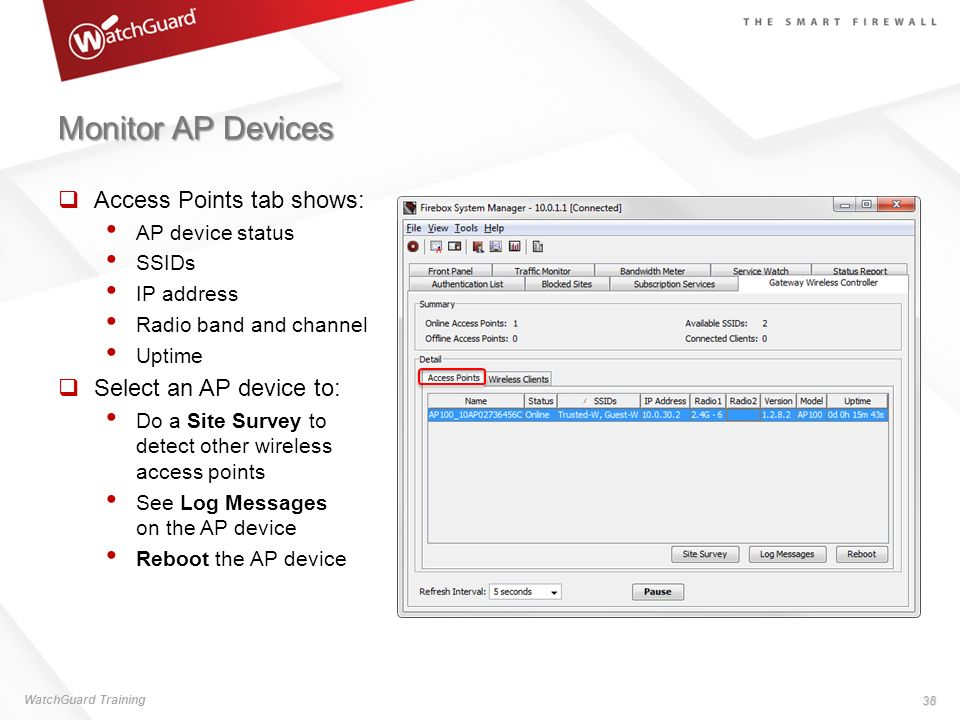 Monitor AP Devices Access Points tab shows: Select an AP device to: