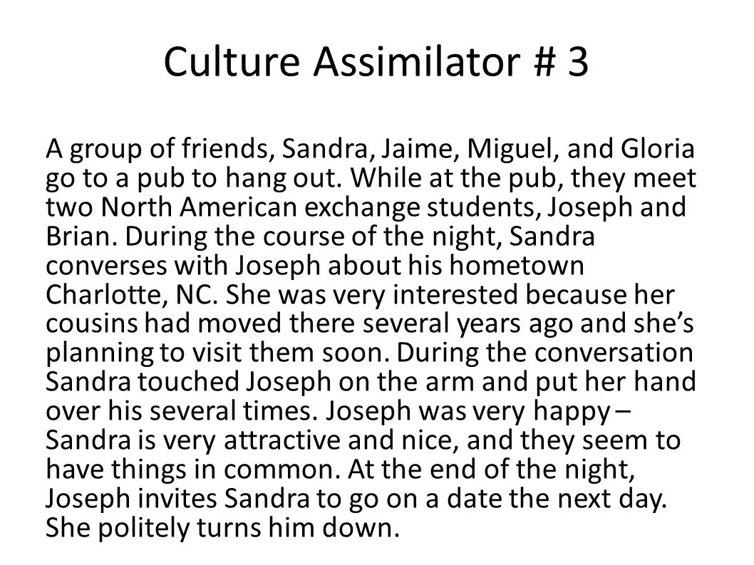 Culture Assimilator # 3