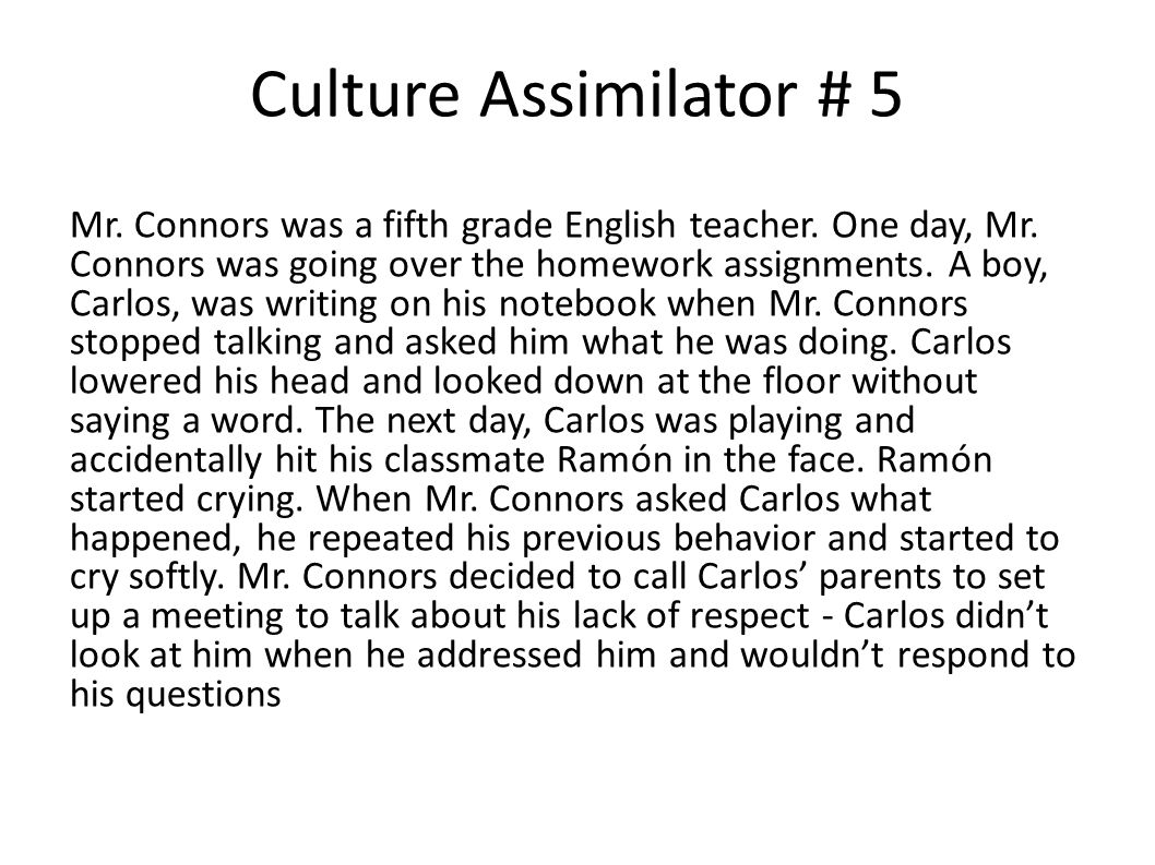 Culture Assimilator # 5