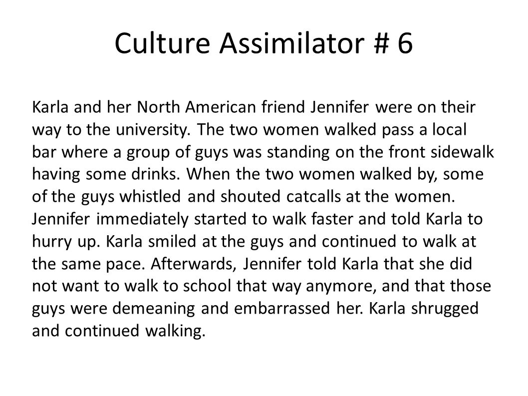 Culture Assimilator # 6