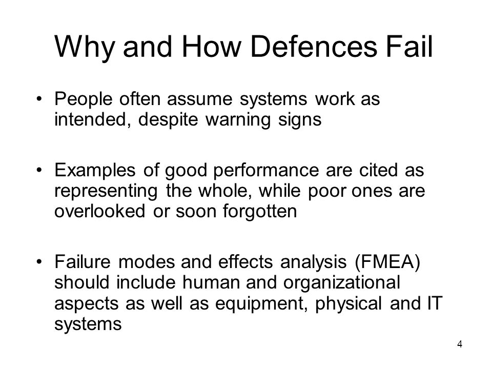 Why and How Defences Fail