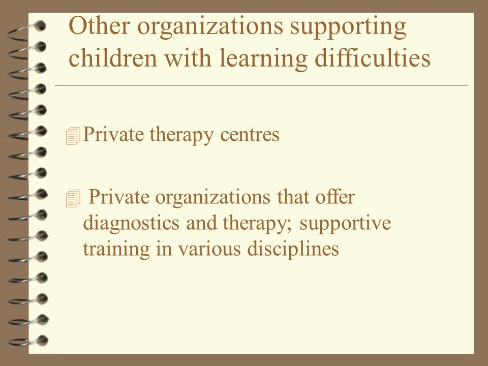 Other organizations supporting children with learning difficulties
