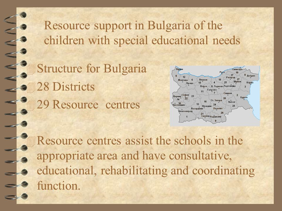 Resource support in Bulgaria of the children with special educational needs