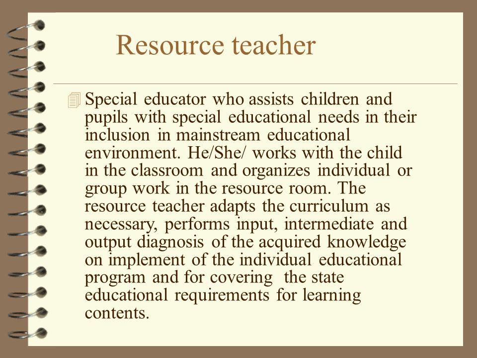 Resource teacher