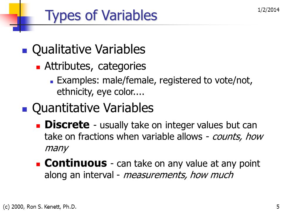 Types of Variables Qualitative Variables Quantitative Variables