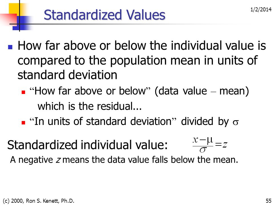 3/25/2017 Standardized Values. How far above or below the individual value is compared to the population mean in units of standard deviation.