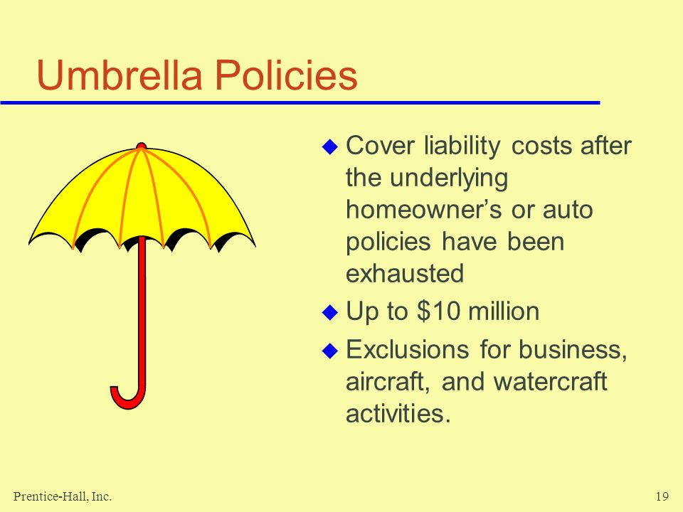 Umbrella Policies Cover liability costs after the underlying homeowner's or auto policies have been exhausted.