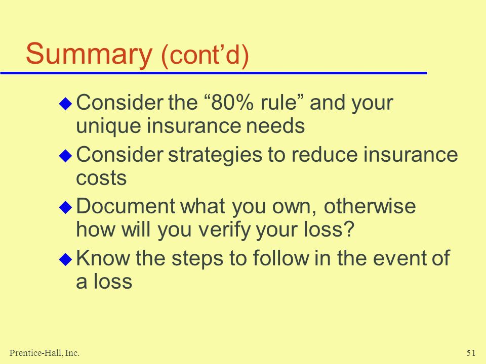 Summary (cont'd) Consider the 80% rule and your unique insurance needs. Consider strategies to reduce insurance costs.