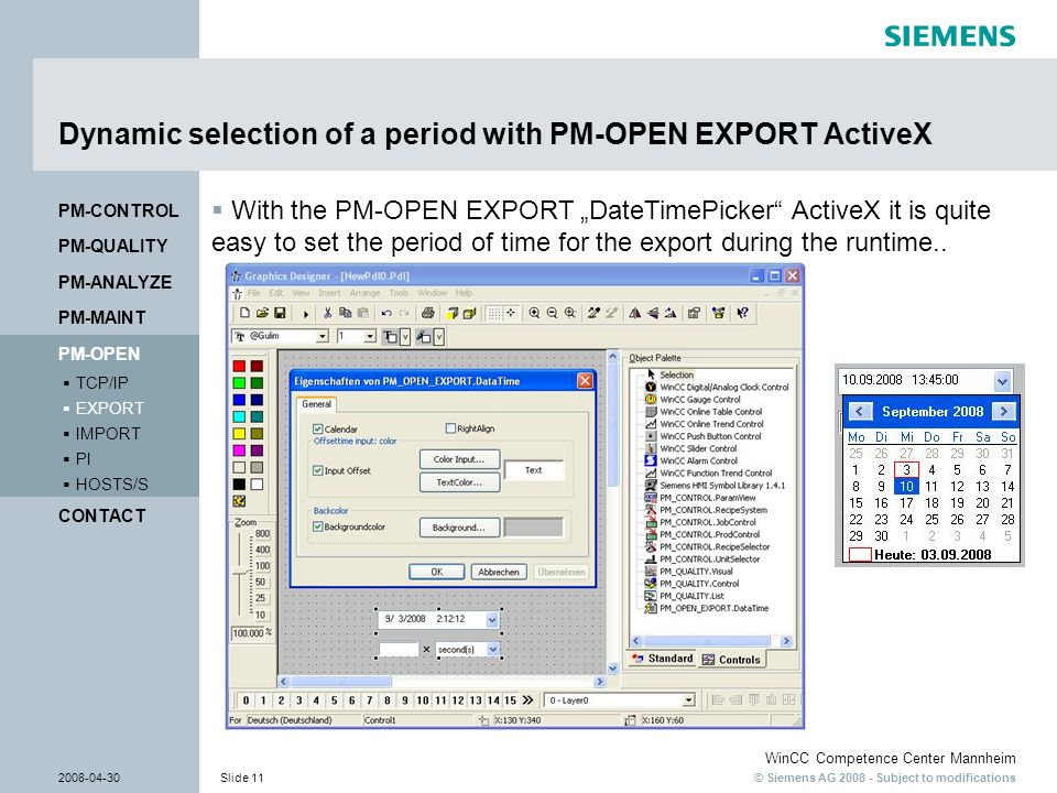 Dynamic selection of a period with PM-OPEN EXPORT ActiveX
