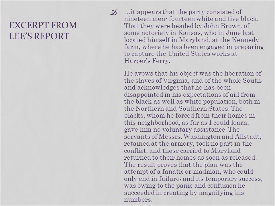 EXCERPT FROM LEE'S REPORT