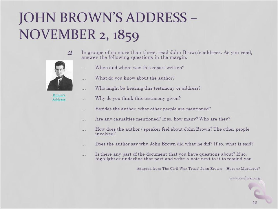 JOHN BROWN'S ADDRESS – NOVEMBER 2, 1859