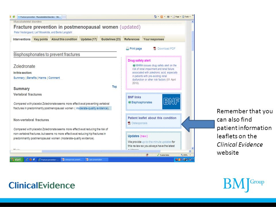 Remember that you can also find patient information leaflets on the Clinical Evidence website