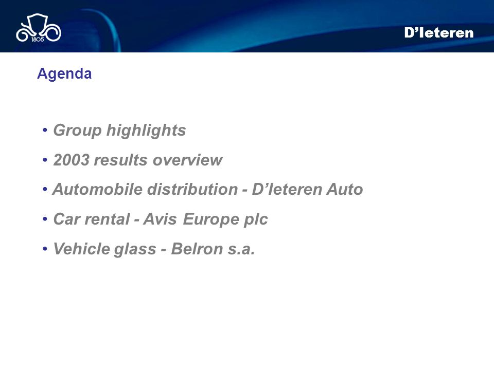 Automobile distribution - D'Ieteren Auto Car rental - Avis Europe plc