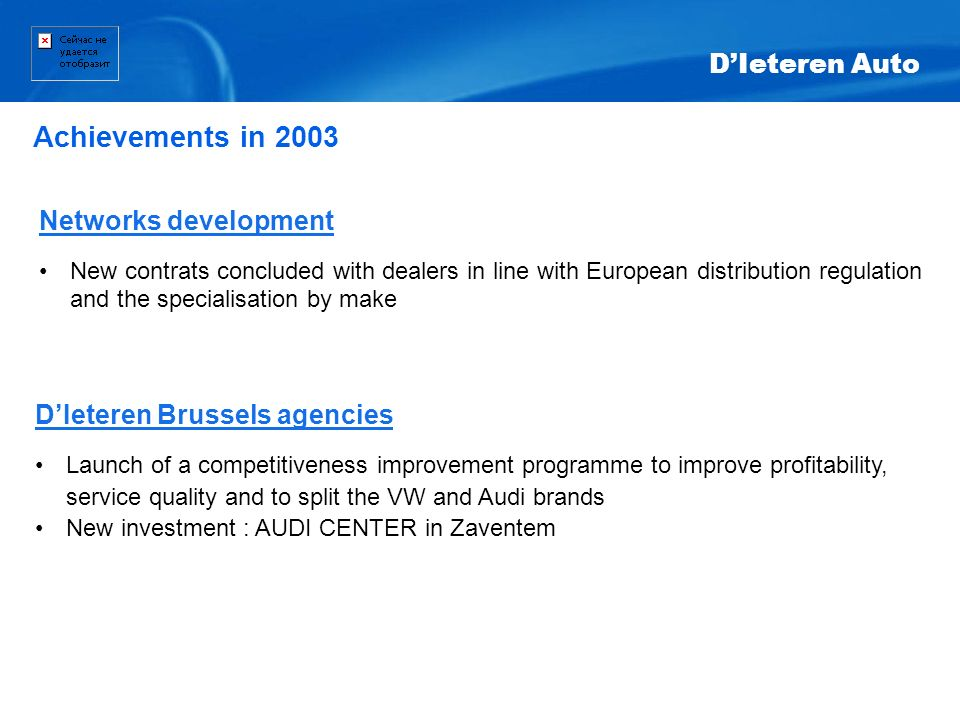 Achievements in 2003 D'Ieteren Auto Networks development