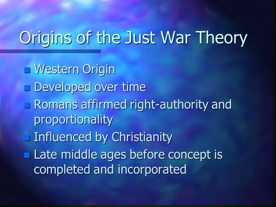 Origins of the Just War Theory