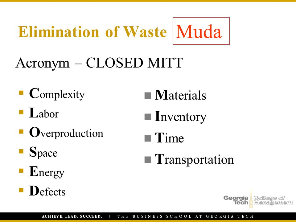 Muda Elimination of Waste Acronym – CLOSED MITT Complexity Labor
