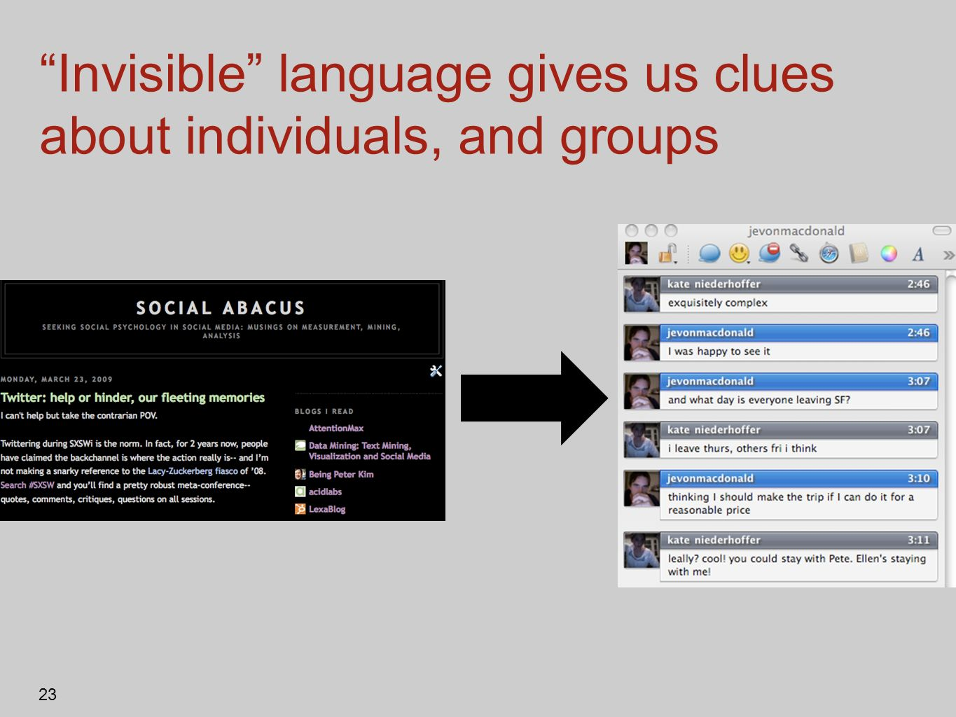 Invisible language gives us clues about individuals, and groups