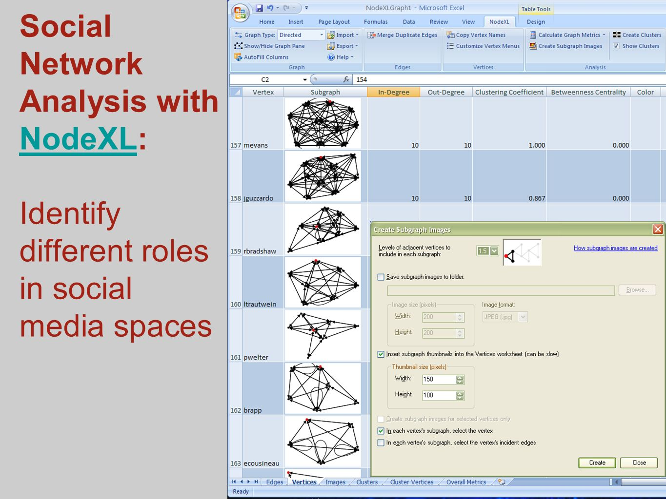 Social Network Analysis with NodeXL: Identify different roles in social media spaces