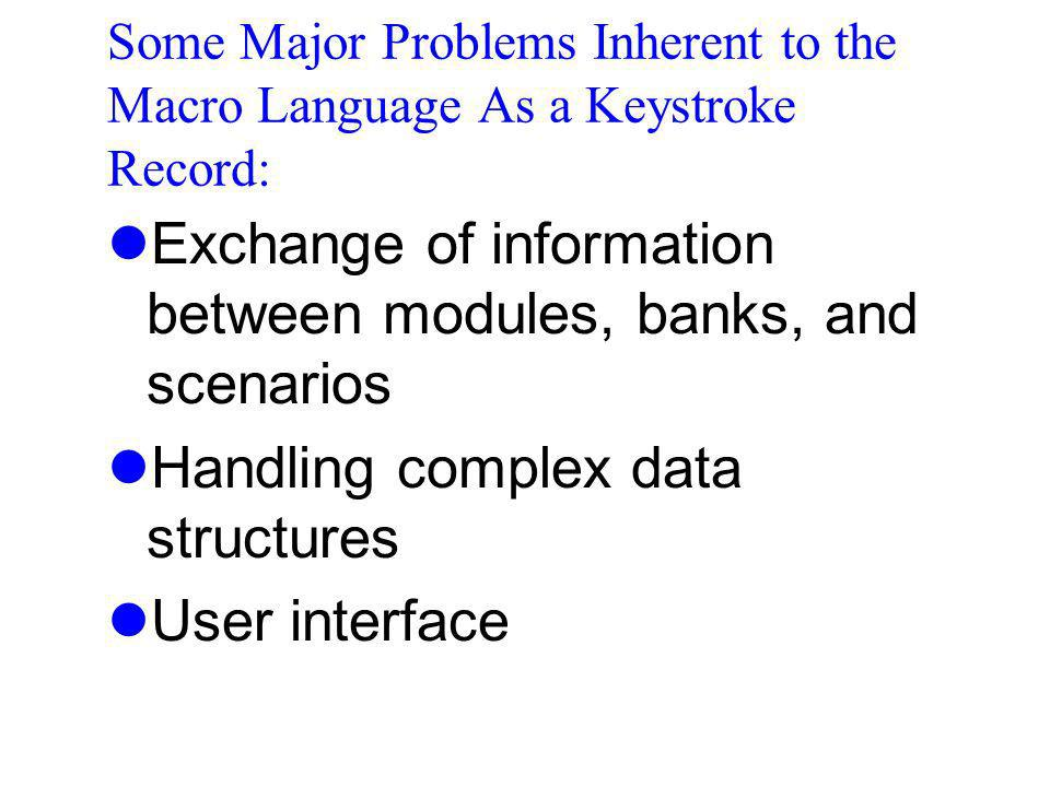 Exchange of information between modules, banks, and scenarios